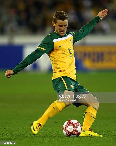 Jason Culina of the Socceroos passes the ball during the 2010 FIFA World Cup PreTournament match between the Australian Socceroos and the New Zealand...