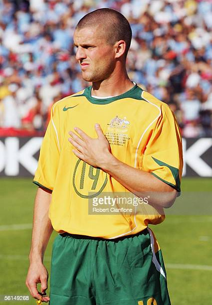 Jason Cullina of Australia lines up prior to the first leg of the FIFA 2006 World Cup Playoff between Uruguay and Australia at the Centenario Stadium...