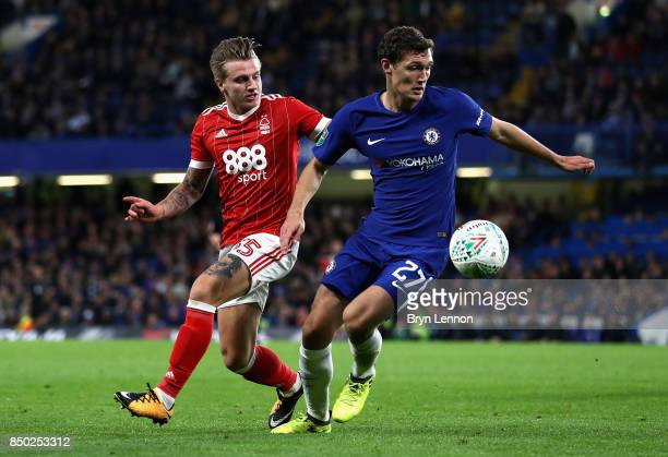 Jason Cummings of Nottingham Forest puts pressure on Andreas Christensen of Chelsea during the Carabao Cup Third Round match between Chelsea and...