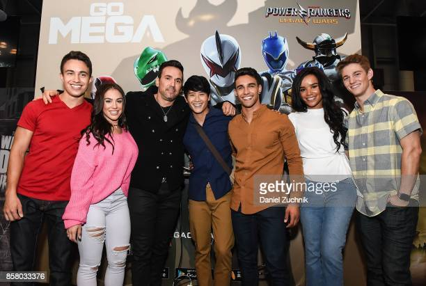 Jason David Frank of the Mighty Morphin Power Rangers poses with William Shewfelt Chrysti Ane Peter Sudarso Jordi Webber Zoe Robins and Nico Greetham...