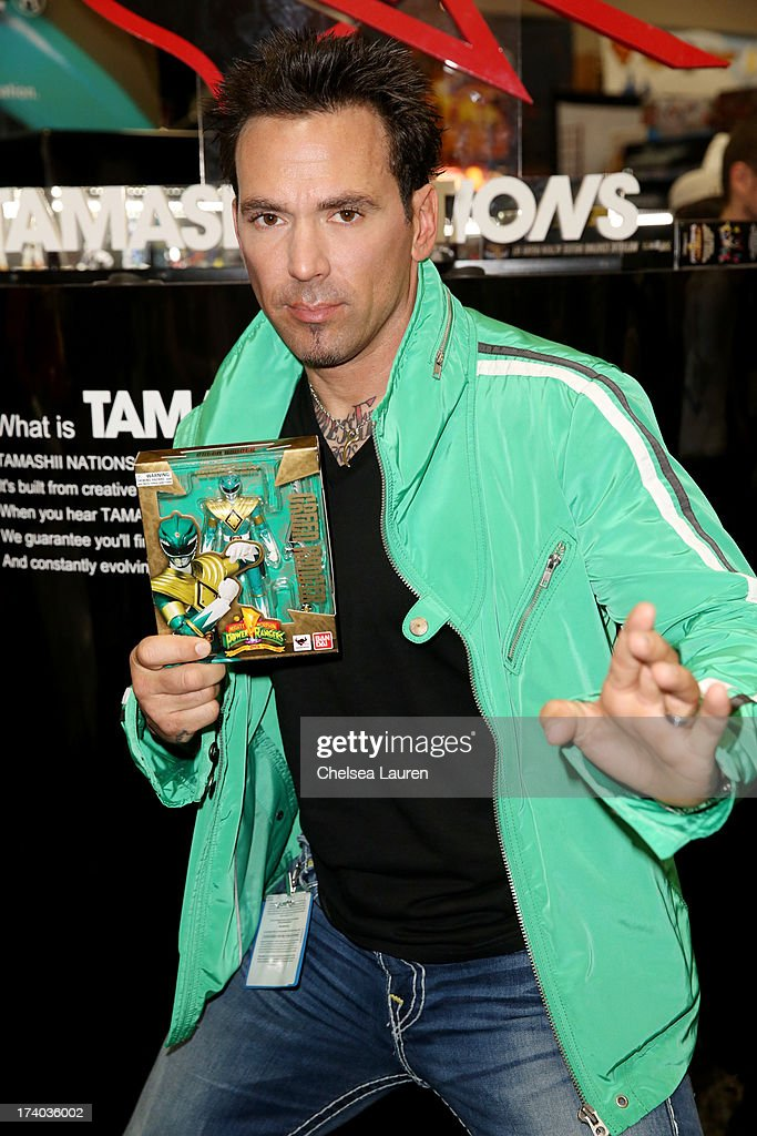 Jason David Frank, the original Green turned White Ranger from the Mighty Morphin Power Rangers series, POWERS Up Comic-con at the Tamashii Nations during Comic-Con International 2013 at San Diego Convention Center on July 19, 2013 in San Diego, California.