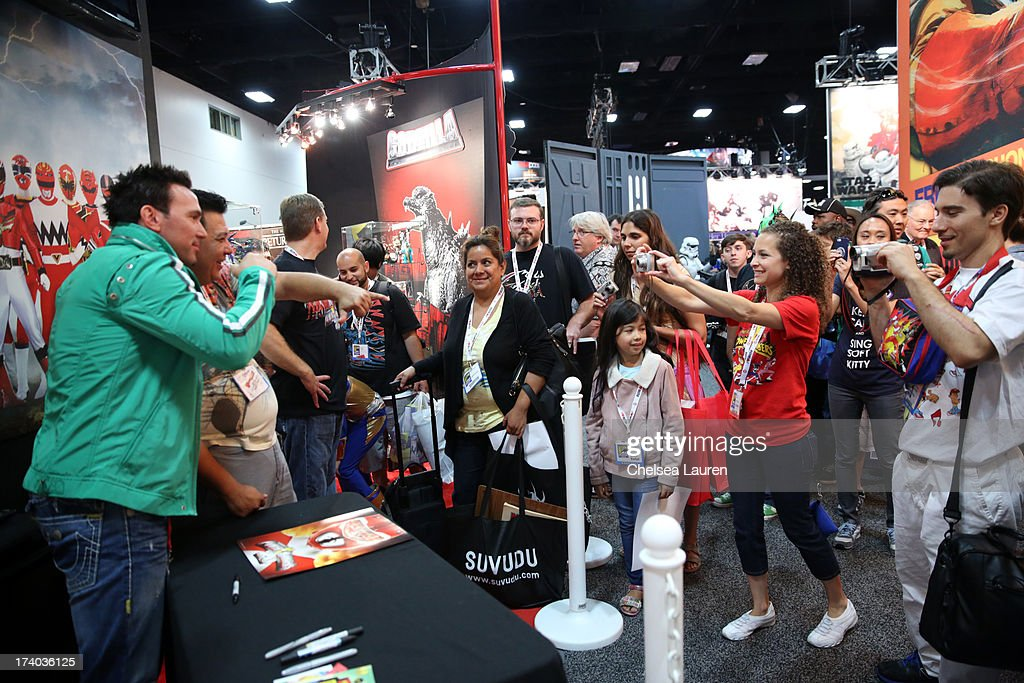Jason David Frank, the original Green turned White Ranger from the Mighty Morphin Power Rangers, makes a MEGA appearance at the Bandai booth during Comic-Con International 2013 at San Diego Convention Center on July 19, 2013 in San Diego, California.