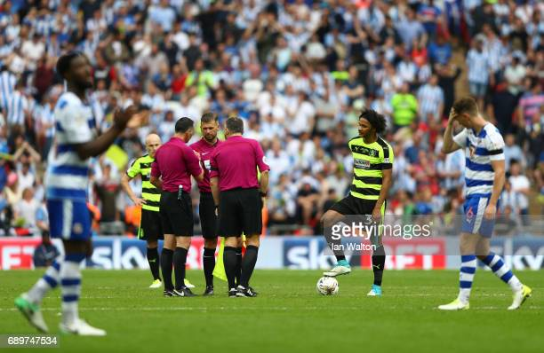 Jason Davidson of Huddersfield Town prepares for extra timeduring the Sky Bet Championship play off final between Huddersfield and Reading at Wembley...