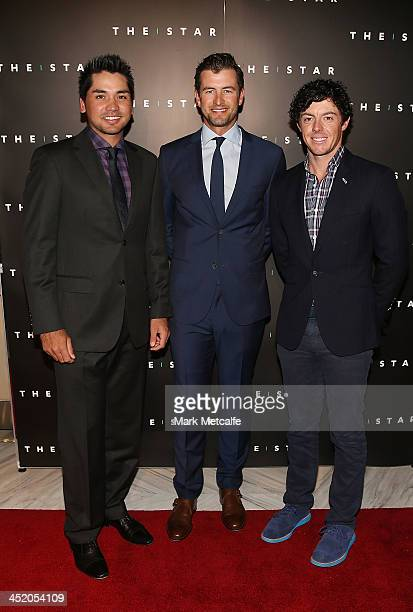 Jason Day Adam Scott and Rory McIlroy arrive at the official launch of the 2013 Australian Open at The Star on November 26 2013 in Sydney Australia