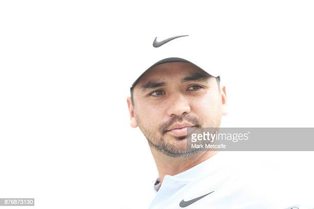 Jason Day of Aus talks to children as part of a coaching clinic during a practice round ahead of the 2017 Australian Open at The Australian Golf Club...