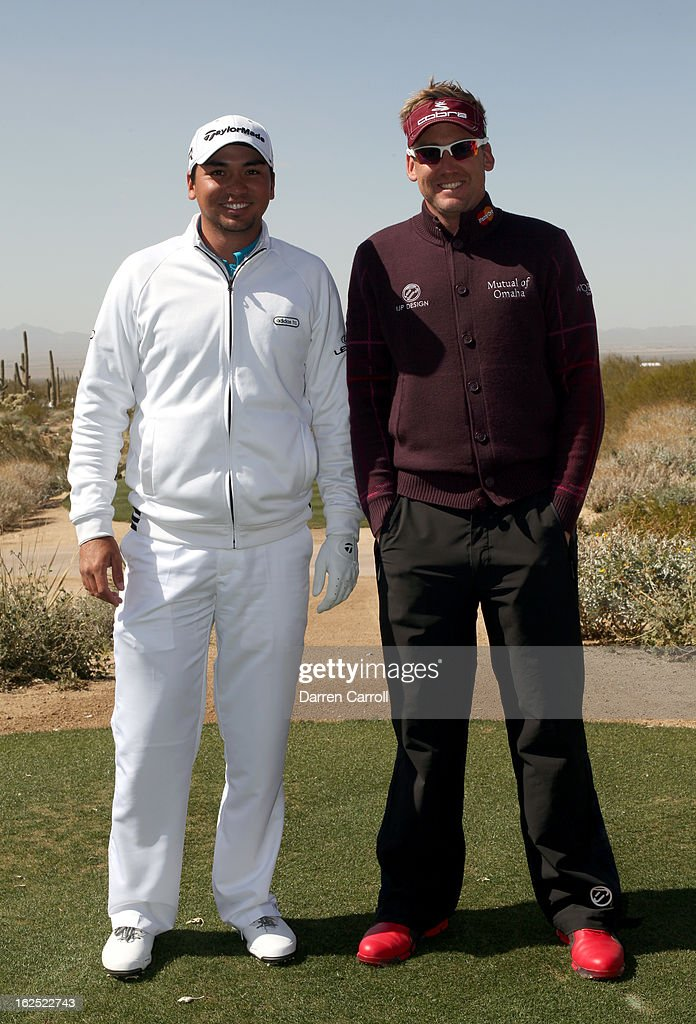 Jason Day of Australia and Ian Poulter of England pose for a photo prior to their third place match during the final round of the World Golf Championships - Accenture Match Play at the Golf Club at Dove Mountain on February 24, 2013 in Marana, Arizona.