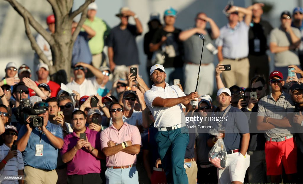 Jason Day of Australia and the International Team plays his second shot on the 17th hole in his match with Marc Leishman against Phil Mickelson and Kevin Kisner of the United States team during the first day foursomes matches for the 2017 Presidents Cup at the Liberty National Golf Club on September 28, 2017 in Jersey City, New Jersey.