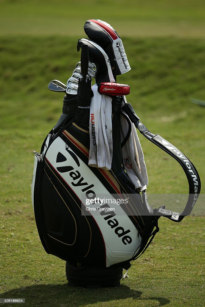 Jason Day of Australia bag on the practice green during the second round of the Zurich Classic of New Orleans at TPC Louisiana on April 29, 2016 in Avondale, Louisiana.