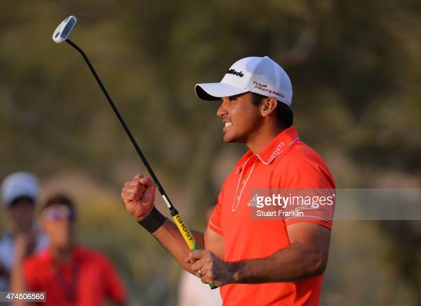 Jason Day of Australia celebrates after winning the championship match on the 23rd hole of the World Golf Championships Accenture Match Play...