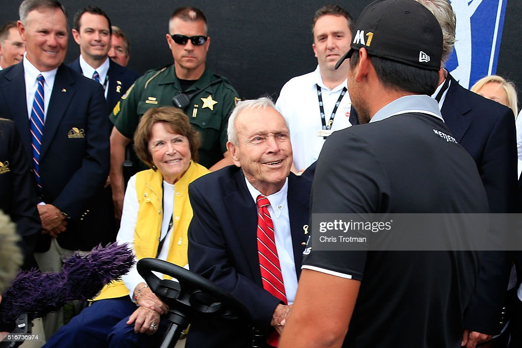 Jason Day of Australia greets Arnold Palmer following the final round of the Arnold Palmer Invitational Presented by MasterCard at Bay Hill Club and Lodge on March 20, 2016 in Orlando, Florida.