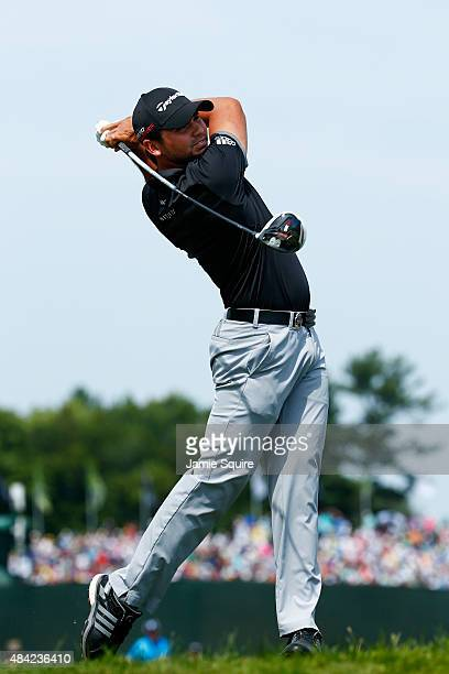 Jason Day of Australia his tee shot on the first hole during the final round of the 2015 PGA Championship at Whistling Straits on August 16 2015 in...