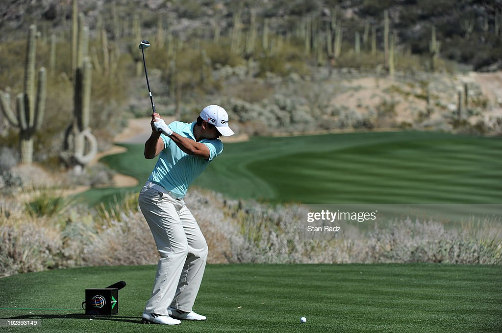 Jason Day of Australia hits a drive on the 15th hole during the second round of the World Golf Championships-Accenture Match Play Championship at The Golf Club at Dove Mountain on February 22, 2013 in Marana, Arizona.