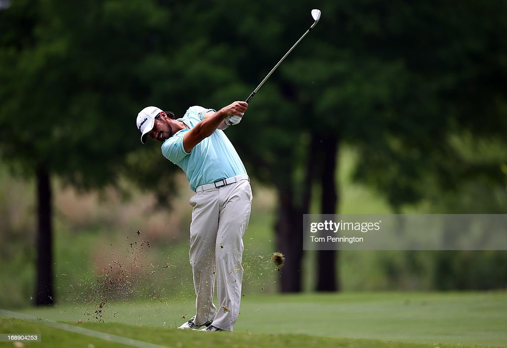 Jason Day of Australia hits a shot during the first round of the 2013 HP Byron Nelson Championship at the TPC Four Seasons Resort on May 16, 2013 in Irving, Texas.