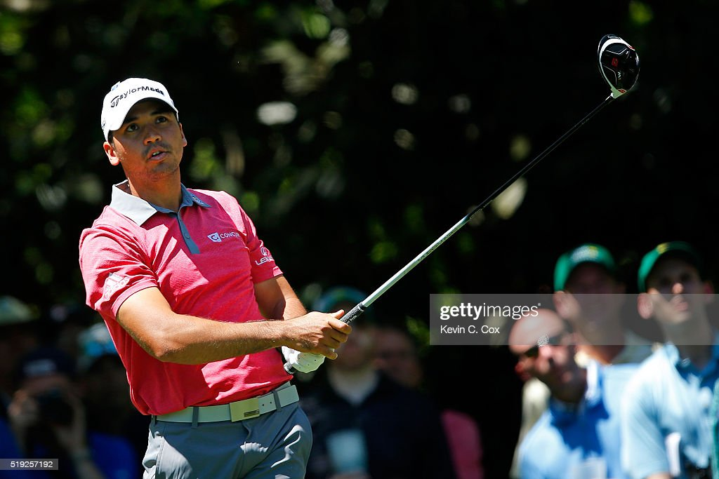 Jason Day of Australia hits a tee shot during a practice round prior to the start of the 2016 Masters Tournament at Augusta National Golf Club on April 5, 2016 in Augusta, Georgia.