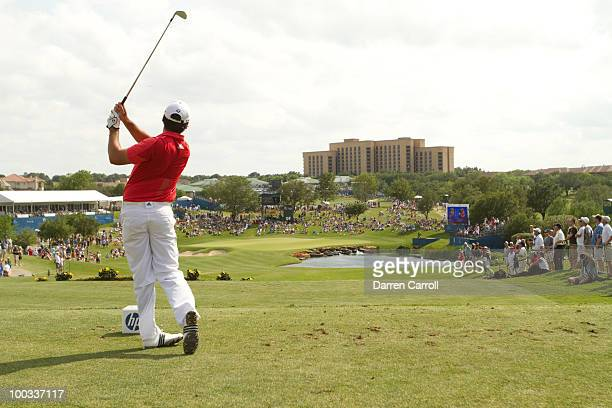 Jason Day of Australia hits a tee shot on the 17th hole during the third round of the HP Byron Nelson Championship at TPC Four Seasons Resort Las...