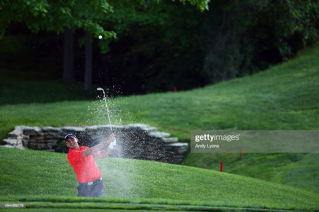 Jason Day of Australia hits from the sand on the 17th hole during the first round of the Memorial Tournament presented by Nationwide Insurance at Muirfield Village Golf Club on May 29, 2014 in Dublin, Ohio.