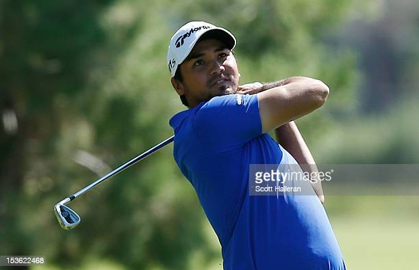 Jason Day of Australia hits his second shot on the ninth hole during the final round of the Justin Timberlake Shriners Hospitals for Children Open at...