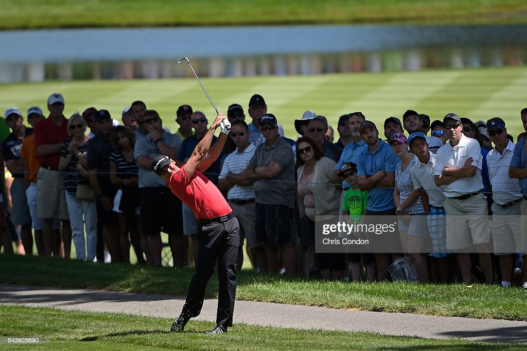 <a gi-track='captionPersonalityLinkClicked' href=/galleries/search?phrase=Jason+Day+-+Golfer&family=editorial&specificpeople=4534484 ng-click='$event.stopPropagation()'>Jason Day</a> of Australia hits his second shot on the second hole during the first round of the World Golf Championships-Bridgestone Invitational at Firestone Country Club on June 30, 2016 in Akron, Ohio.