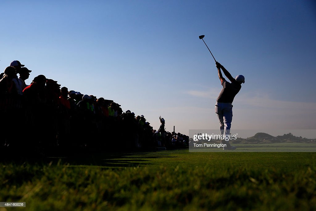 Jason Day of Australia hits his tee shot on the 11th hole during the third round of the 2015 PGA Championship at Whistling Straits on August 15 2015...
