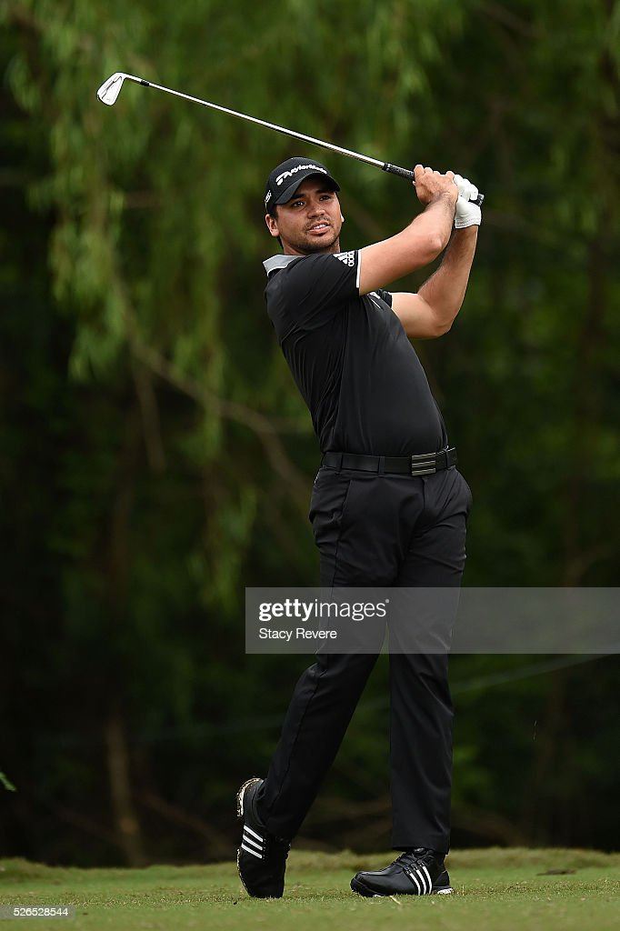 Jason Day of Australia hits his tee shot on the 14th hole during a continuation of the second round of the Zurich Classic at TPC Louisiana on April 30, 2016 in Avondale, Louisiana.