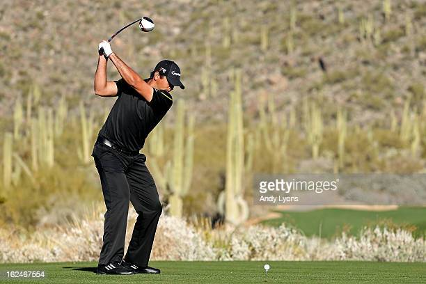 Jason Day of AUstralia hits his tee shot on the 15th hole during the quarterfinal round of the World Golf Championships Accenture Match Play at the...