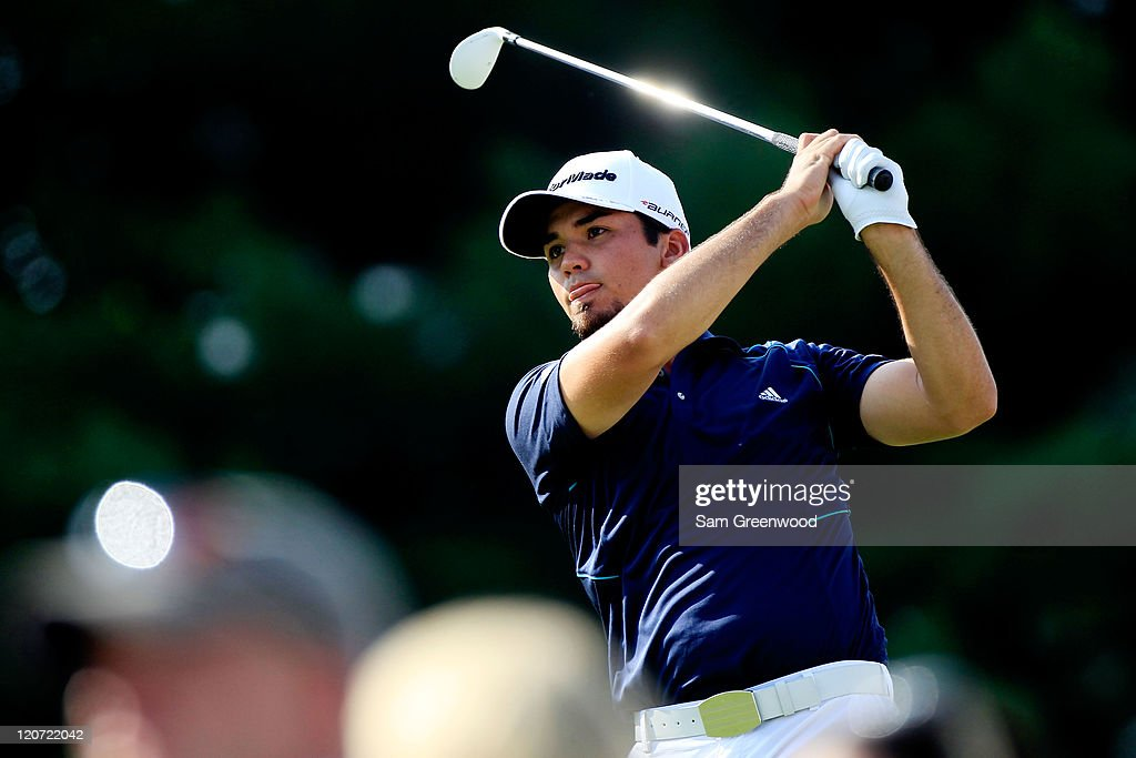 <a gi-track='captionPersonalityLinkClicked' href=/galleries/search?phrase=Jason+Day+-+Golfer&family=editorial&specificpeople=4534484 ng-click='$event.stopPropagation()'>Jason Day</a> of Australia hits his tee shot on the 17th hole during the final round of the World Golf Championships-Bridgestone Invitational on the South Course at Firestone Country Club on August 7, 2011 in Akron, Ohio.