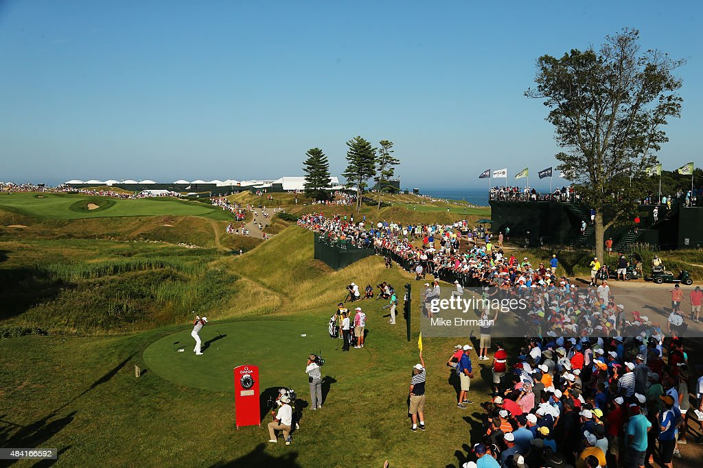 Jason Day of Australia hits his tee shot on the tenth hole during the third round of the 2015 PGA Championship at Whistling Straits at on August 15, 2015 in Sheboygan, Wisconsin.