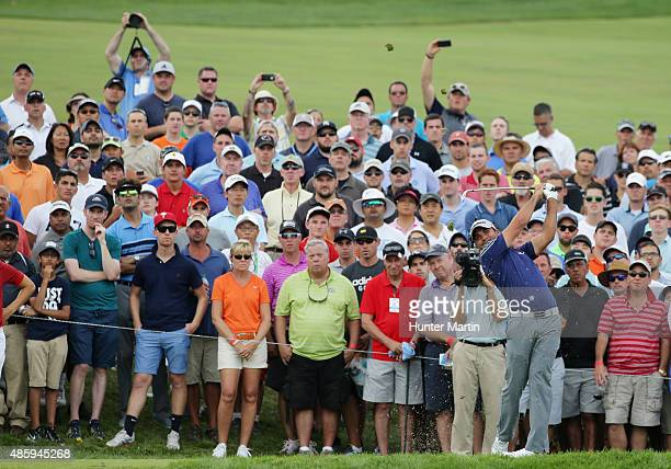 Jason Day of Australia hits his tee shot on the third hole during the final round of The Barclays at Plainfield Country Club on August 30 2015 in...