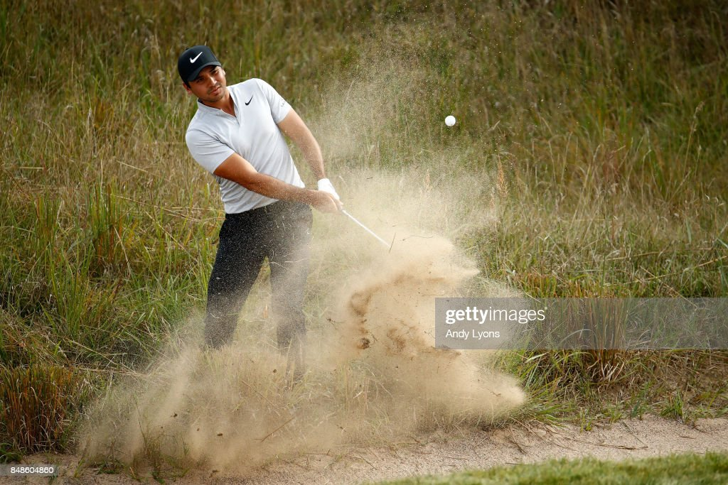 Jason Day of Australia hits his third shot on the 14th hole during the final round of the BMW Championship at Conway Farms Golf Club on September 17, 2017 in Lake Forest, Illinois.