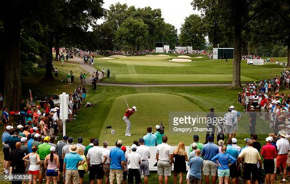 Jason Day of Australia hits off the seventh tee during the final round of the World Golf Championships Bridgestone Invitational at Firestone Country...