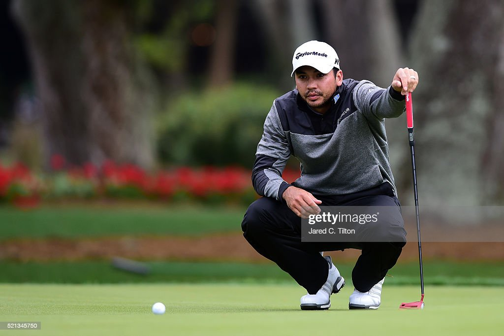 Jason Day of Australia lines up a putt on the 13th green during the second round of the 2016 RBC Heritage at Harbour Town Golf Links on April 15, 2016 in Hilton Head Island, South Carolina.