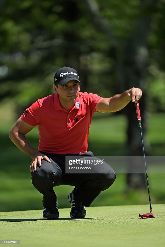 <a gi-track='captionPersonalityLinkClicked' href=/galleries/search?phrase=Jason+Day+-+Golfer&family=editorial&specificpeople=4534484 ng-click='$event.stopPropagation()'>Jason Day</a> of Australia looks at his line on the first green green during the first round of the World Golf Championships-Bridgestone Invitational at Firestone Country Club on June 30, 2016 in Akron, Ohio.