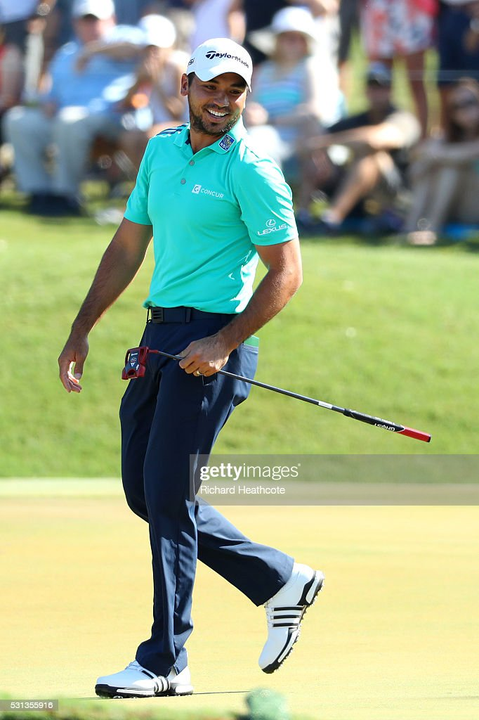 Jason Day of Australia on the 16th green during the resumption of the weather delayed second round of THE PLAYERS Championship at the Stadium course at TPC Sawgrass on May 14, 2016 in Ponte Vedra Beach, Florida.