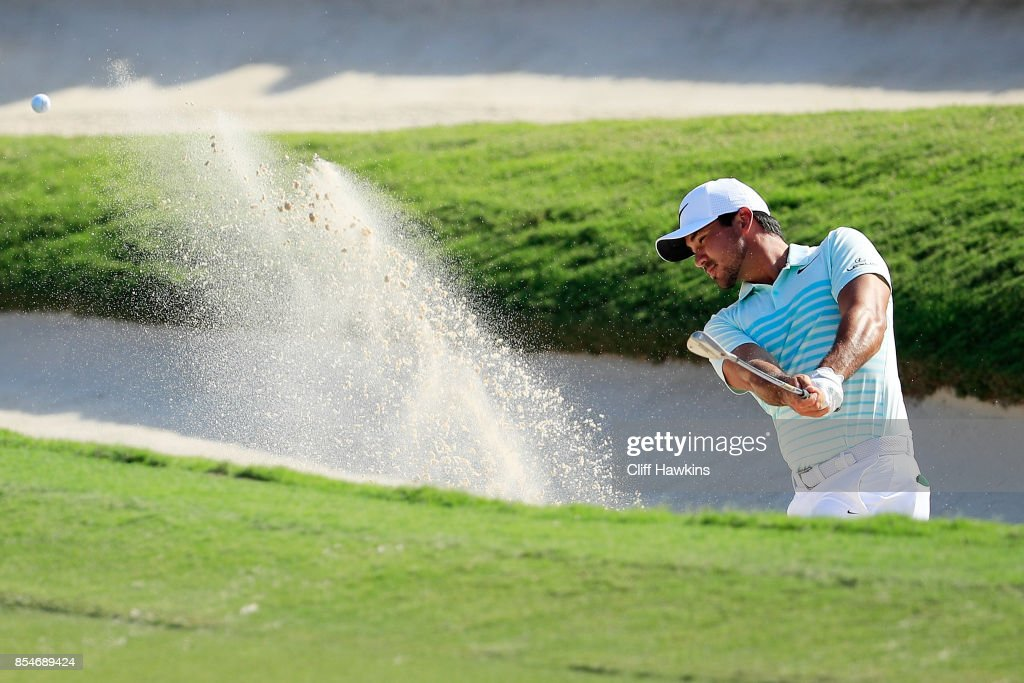 Jason Day of Australia plays a shot from a bunker on the 18th hole during the final round of the TOUR Championship at East Lake Golf Club on September 24, 2017 in Atlanta, Georgia.