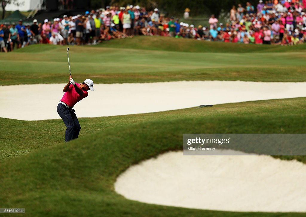 Jason Day of Australia plays a shot on the seventh hole during the final round of THE PLAYERS Championship at the Stadium course at TPC Sawgrass on May 15, 2016 in Ponte Vedra Beach, Florida.