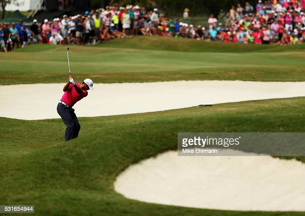Jason Day of Australia plays a shot on the seventh hole during the final round of THE PLAYERS Championship at the Stadium course at TPC Sawgrass on...