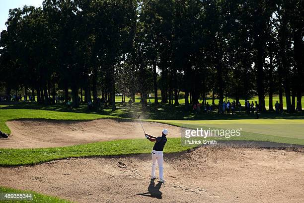 Jason Day of Australia plays his second shot on the 12th hole during the Final Round of the BMW Championship at Conway Farms Golf Club on September...