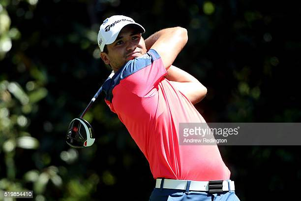 Jason Day of Australia plays his shot from the 11th tee during the second round of the 2016 Masters Tournament at Augusta National Golf Club on April...