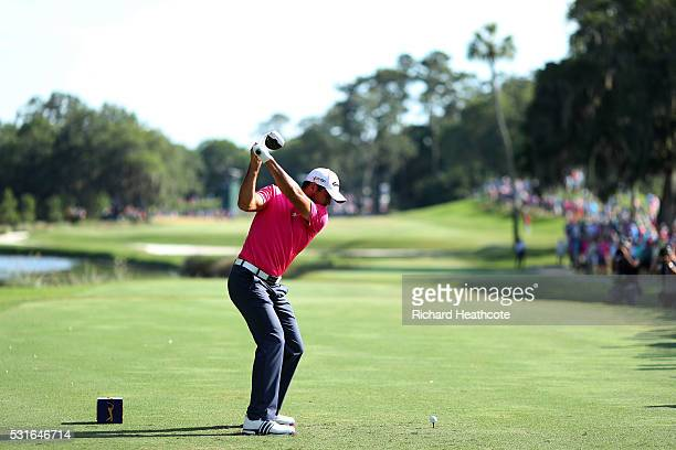 Jason Day of Australia plays his shot from the 14th tee during the final round of THE PLAYERS Championship at the Stadium course at TPC Sawgrass on...