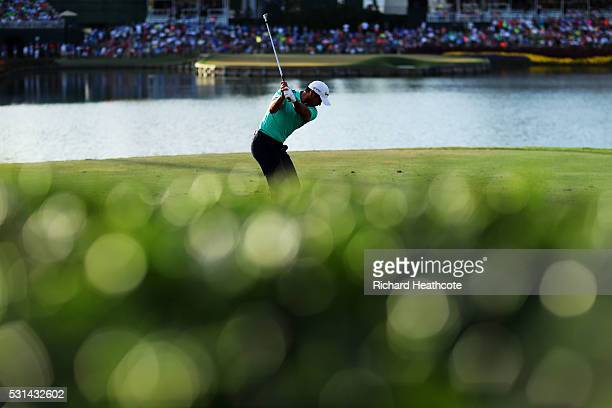Jason Day of Australia plays his shot from the 17th tee during the third round of THE PLAYERS Championship at the Stadium course at TPC Sawgrass on...