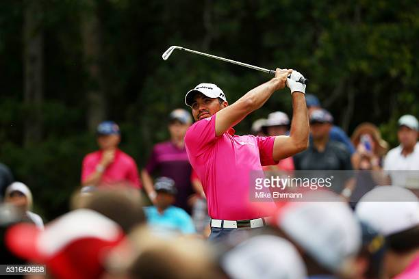 Jason Day of Australia plays his shot from the eighth tee during the final round of THE PLAYERS Championship at the Stadium course at TPC Sawgrass on...