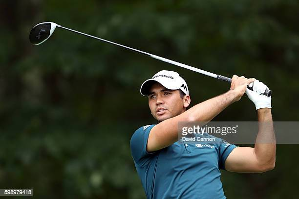Jason Day of Australia plays his shot from the fifth tee during the second round of the Deutsche Bank Championship at TPC Boston on September 3 2016...