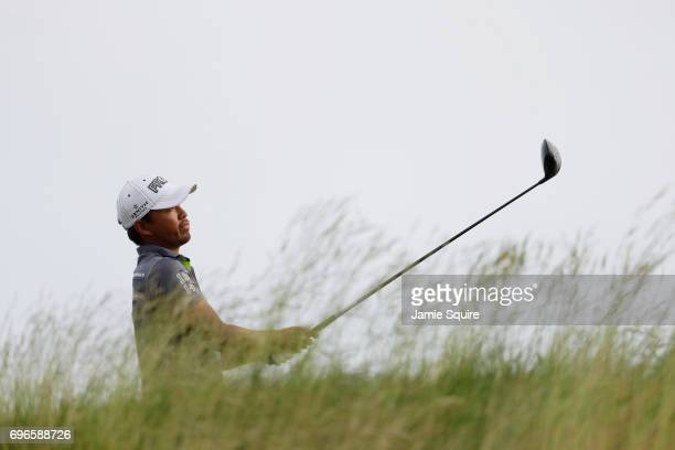 Jason Day of Australia plays his shot from the fifth tee during the second round of the 2017 US Open at Erin Hills on June 16 2017 in Hartford...