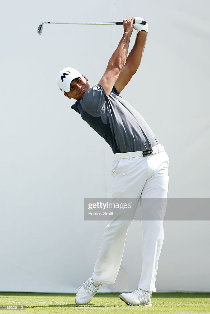 Jason Day of Australia plays his shot from the first tee during the Final Round of the BMW Championship at Conway Farms Golf Club on September 20...
