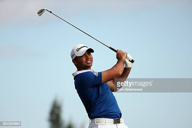 Jason Day of Australia plays his shot from the fourth tee during the third round of the Hyundai Tournament of Champions at the Plantation Course at...