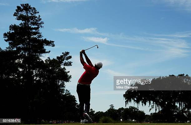 Jason Day of Australia plays his shot from the ninth tee during the final round of THE PLAYERS Championship at the Stadium course at TPC Sawgrass on...