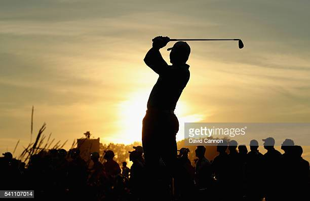 Jason Day of Australia plays his shot from the ninth tee during the third round of the US Open at Oakmont Country Club on June 18 2016 in Oakmont...