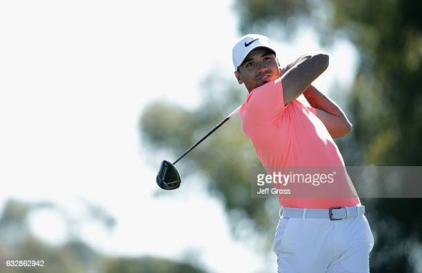 Jason Day of Australia plays his shot from the second tee during the second round of the Farmers Insurance Open at Torrey Pines North on January 27...