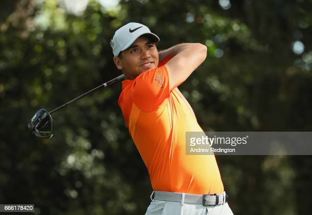 Jason Day of Australia plays his shot from the second tee during the third round of the 2017 Masters Tournament at Augusta National Golf Club on...