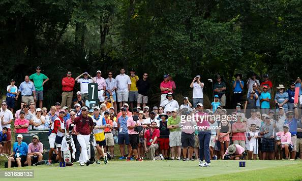 Jason Day of Australia plays his shot from the seventh tee during the final round of THE PLAYERS Championship at the Stadium course at TPC Sawgrass...